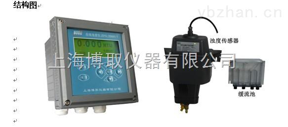 在线浊度分析仪生产厂家,90度散射光原理,带缓流槽