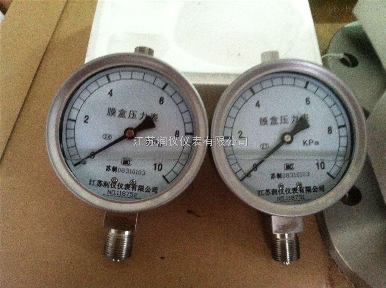 YEN-100 江蘇潤儀10KPa耐震膜盒壓力表