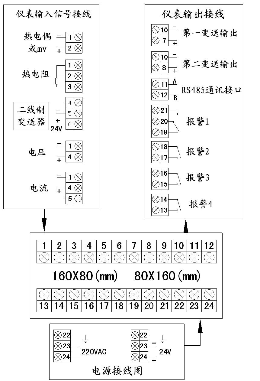 数字显示调节仪接线图1