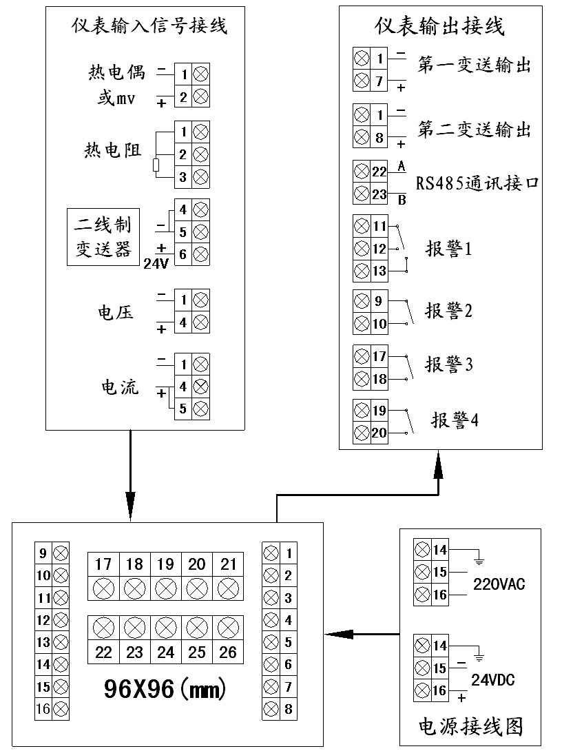 数字显示调节仪接线图2