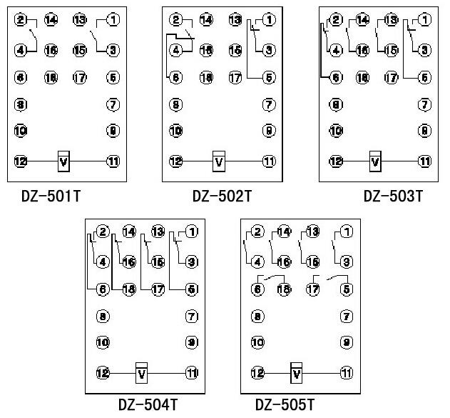 dz-500t系列中间继电器内部接线图